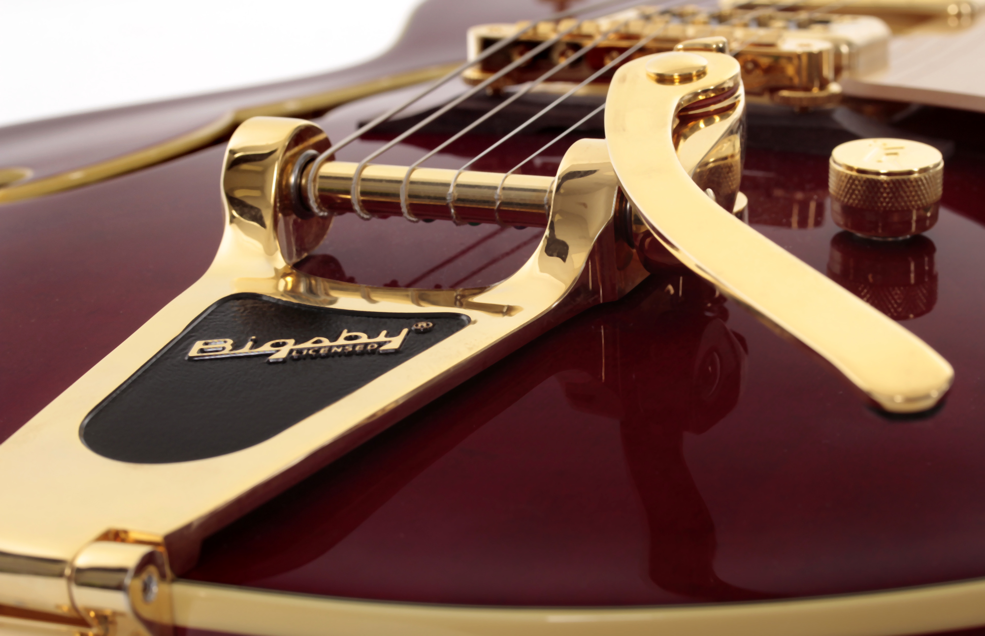 Bigsby tremolo bridge on a Gretsch guitar