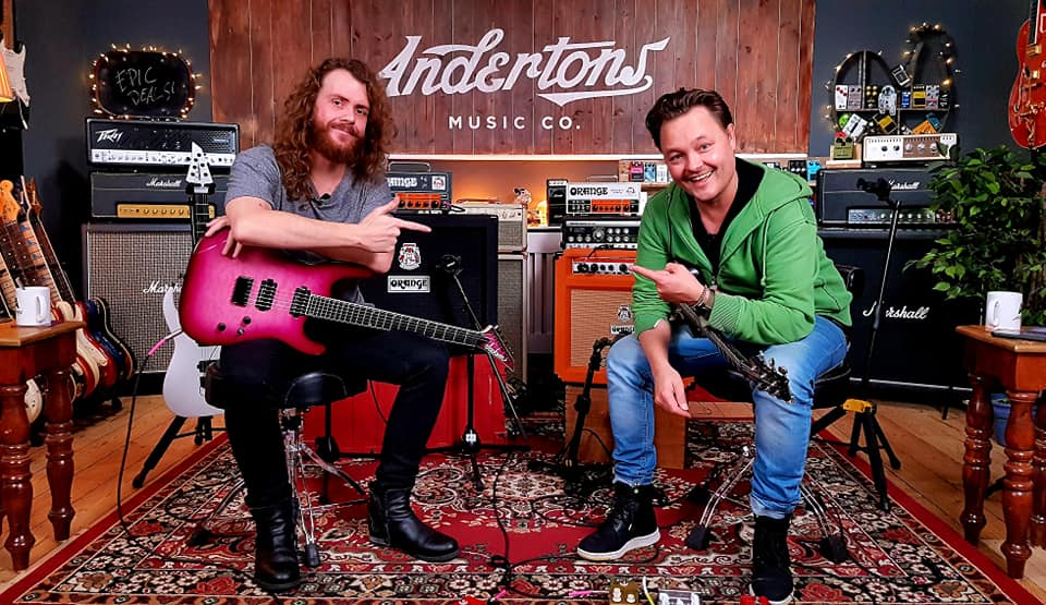 UK guitarist Sam Bell with Danish Pete - Andertons Music Co.