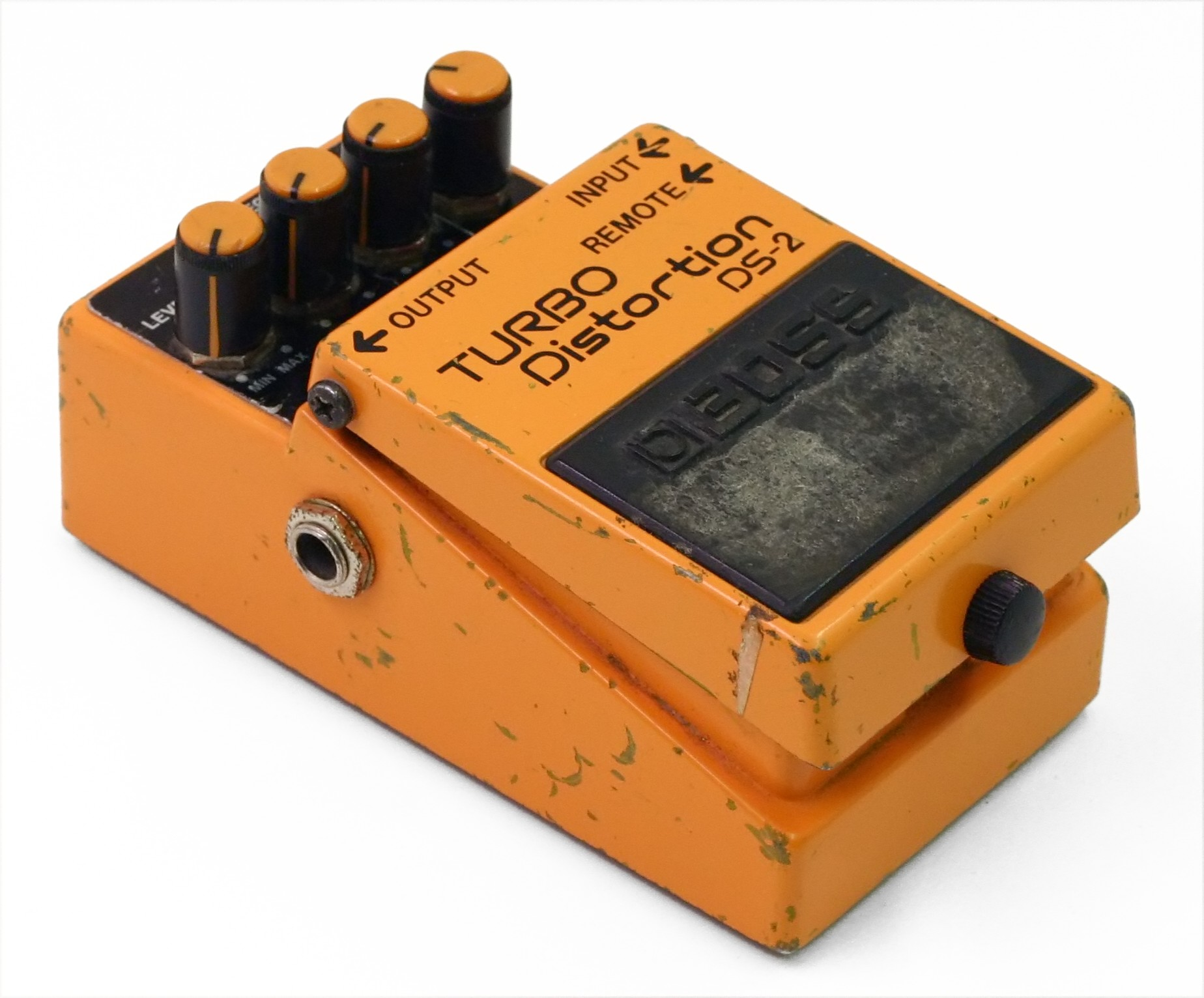 A beaten-up Boss Turbo-Distortion - Andertons Music Co.